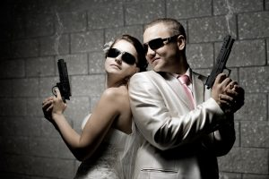 couple shooting range together two gun tactical